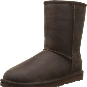 UGG Leather upper Classic Short Boot in Dark Brown